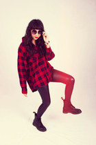 black Dr Martens boots - black Nasty Gal leggings - red Nasty Gal shirt