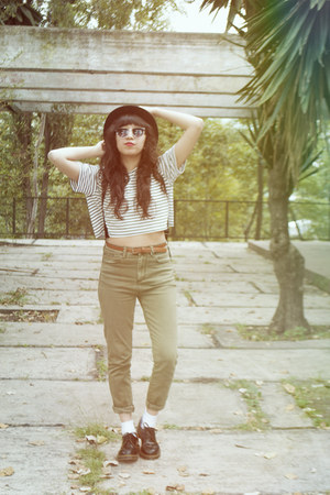 black Dr Martens shoes - olive green denim Nasty Gal jeans - black Nasty Gal hat