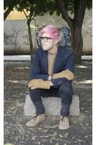 pull&bear shoes - H&M jeans - pull&bear sweater - Zara blazer - dents gloves