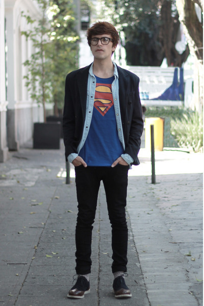 emporio armani shoes - Dr Denim jeans - Zara blazer - pull&bear t-shirt