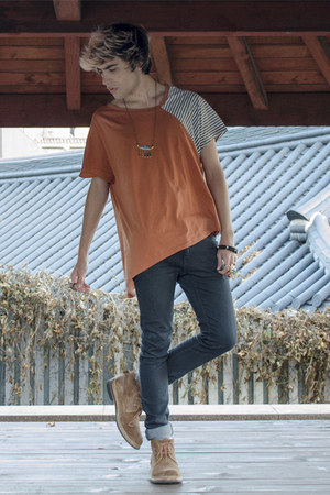 codes combine t-shirt - Frank Wright boots - H&M jeans - asos necklace