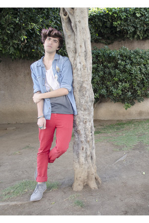 H&M t-shirt - pull&bear boots - Peoples Market jeans - H&M shirt - asos necklace