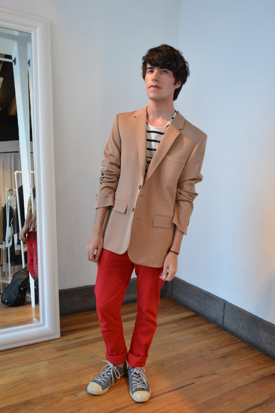 red Peoples Market jeans - beige Maison Martin Margiela for H&M blazer