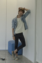 H&M jeans - pull&bear jacket - neoprene from Korea t-shirt - Converse sneakers