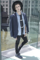 H&M hat - Frank Wright boots - asos jeans - H&M blazer - H&M shirt