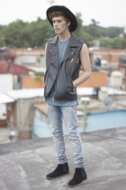 H&M jeans - Frank Wright boots - H&M hat - Forever 21 vest - asos t-shirt