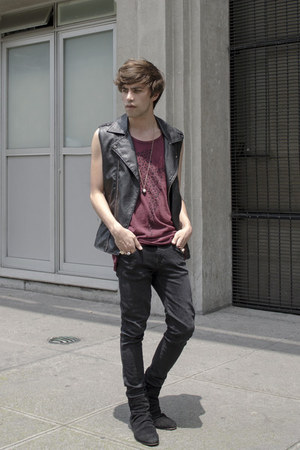 H&M t-shirt - asos boots - asos jeans - Forever 21 vest - H&M necklace