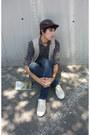 Zara-jeans-zara-hat-zara-shirt-lacoste-sneakers-pull-bear-vest