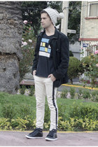 Zara t-shirt - pull&bear jeans - H&M hat - asos jacket - c&a sneakers