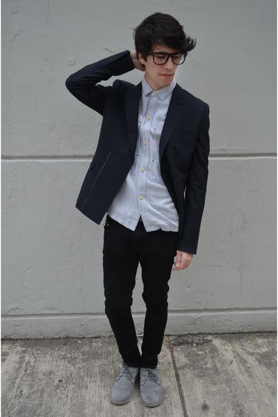 navy asos blazer - silver pull&bear boots - black asos jeans