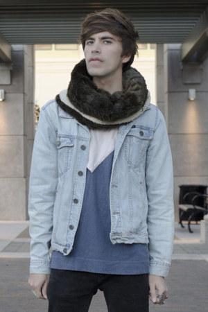 pull&bear jeans - pull&bear jacket - Zara scarf - Self t-shirt - Aldo sneakers