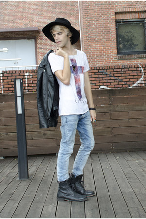 H&M jeans - asos boots - Wonderplace hat - H&M jacket - Rotten Apparel t-shirt