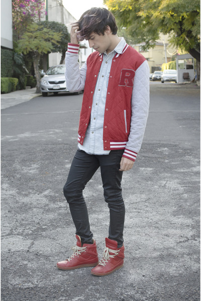 asos jeans - asos jacket - Dr Denim shirt - maison martin margiela sneakers