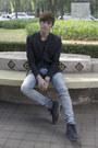 Frank-wright-boots-h-m-jeans-asos-blazer-lefties-t-shirt-coach-bracelet