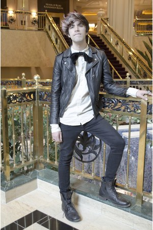 asos boots - asos jeans - H&M jacket - pull&bear shirt - asos tie
