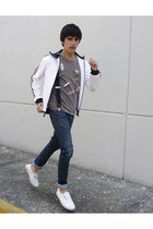 asos necklace - Zara jeans - adidas jacket - Zara sneakers - Zara t-shirt