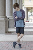 asos t-shirt - Frank Wright boots - H&M shirt - pull&bear shorts - A Land socks