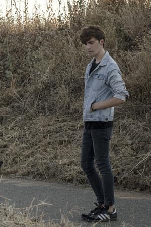 pull&bear jeans - pull&bear jacket - Zara t-shirt - Adidas sneakers