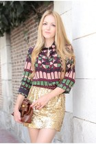 gold Queens Wardrobe skirt - brown foleycorinna bag - Missoni blouse