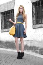 mustard Carolina Herrera bag - black Zara boots - gray Zara dress