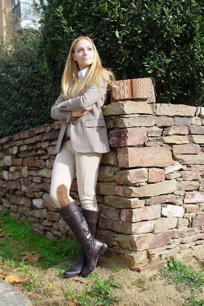 dark khaki Burberry vest - dark brown Tommy Hilfiger boots - eggshell Zara pants