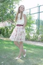 cream Bimba & Lola blouse - cream Zara skirt - cream Zara flats