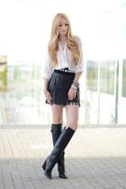 black Zara boots - black Zara skirt