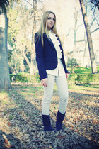 navy ECI boots - navy Tommy Hilfiger blazer - cream Tommy Hilfiger blouse - crea