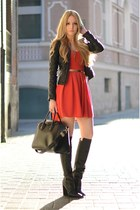 Zara boots - windsor dress - Givenchy bag