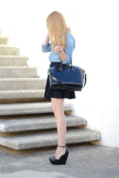 Givenchy bag - Topshop skirt - Zara wedges