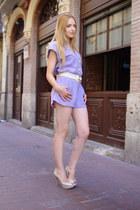 ivory Zara shoes - bubble gum YSL ring - ivory bdba belt - periwinkle bdba rompe