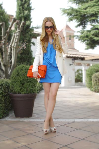 blue Mango dress - cream Queens Wardrobe blazer - carrot orange Mango bag