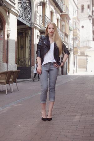 black Queens Wardrobe jacket - black Go heels - charcoal gray Mango pants - whit