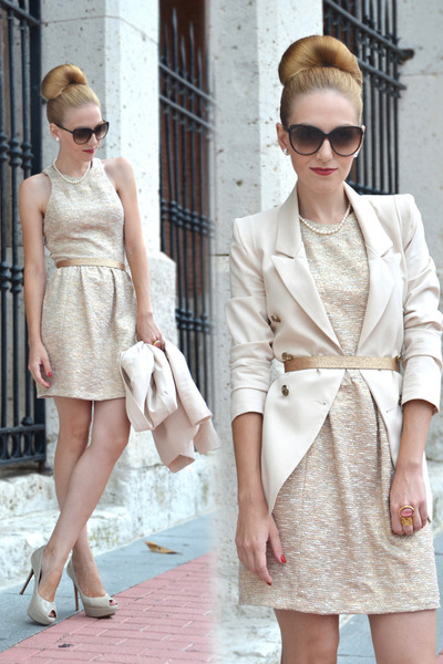 bubble gum YSL ring - cream Zara dress - cream Queens Wardrobe blazer