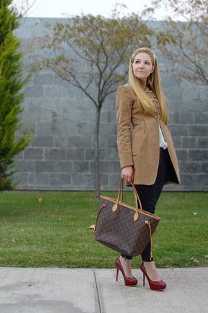 bronze Zara coat - ruby red Zara heels - brown Louis Vuitton bag - ivory Zara bl