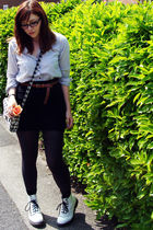 white Topshop shirt - black Urban Outfitters skirt - brown Topshop belt - gray T