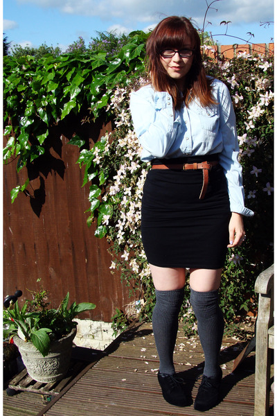 blue Topshop shirt - black Urban Outfitters skirt - gray Topshop socks - black M