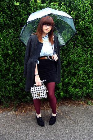 red Topshop tights - black Melissa shoes - gray Darling coat