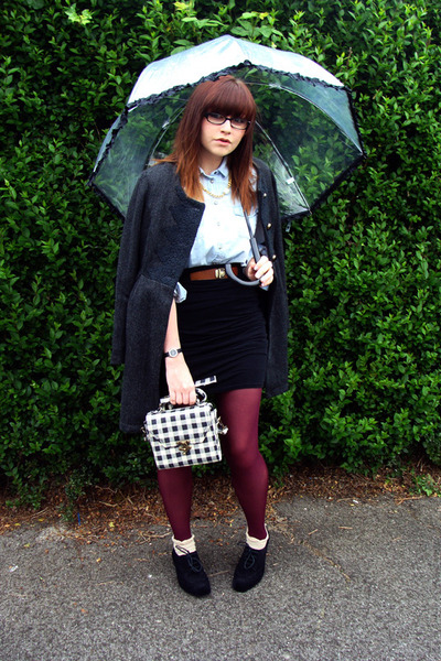 red Topshop tights - black Melissa shoes - gray Darling coat