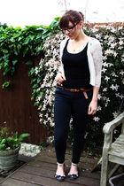 black Topshop vest - white Topshop cardigan - black Topshop jeans - black Topsho