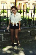 black Chanel glasses - black Topshop shoes - white Grandmas shirt