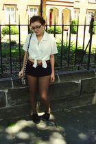 black Chanel glasses - black Topshop shoes - white Grandmas shirt