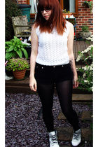 black Topshop shorts - white Dr Martens boots - black Marks and Spencer tights