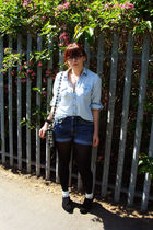blue Topshop shirt - blue Levis Red Tab 514 shorts - white Topshop purse - black