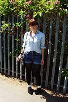 blue Topshop shirt - blue Levis Red Tab 514 shorts - white Topshop purse - black