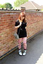 black Topshop Boutique dress - black Topshop purse - white Dr Martens boots - pi