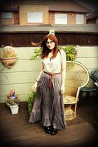 gray Topshop skirt - brown Topshop belt - beige Topshop top - black Dr Martens b