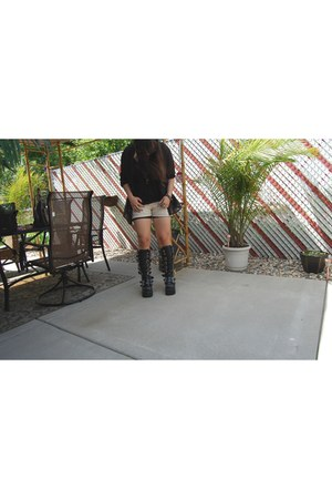 black Demonia boots - black H&M dress - cream crochet delias shorts