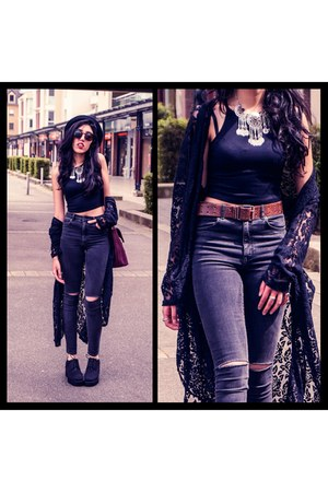 gray H&M jeans - black Missguided top