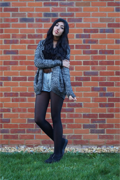 heather gray knit Boohoo cardigan - black suede creepers Underground shoes